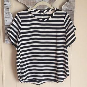 Ann Taylor LOFT   Black White Stripe Blouse SP